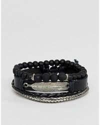 ASOS DESIGN - Leather And Chain Bracelet Pack In Black With Feather - Lyst