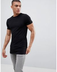 c31fe7b1 ASOS - Longline Muscle Fit Crew Neck T-shirt With Stretch In Black - Lyst