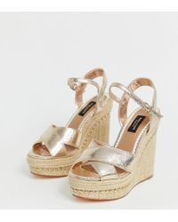 River Island - Wide Fit Wedge Sandals In Gold - Lyst