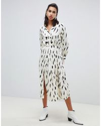 ASOS - Pleated Maxi Dress With Long Sleeves And Collar In Contemporary Print - Lyst
