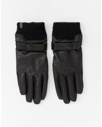 Esprit - Smart Leather Gloves In Black - Lyst