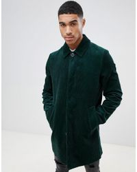 ASOS - Single Breasted Cord Trench Coat In Bottle Green - Lyst