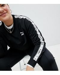 PUMA - Exclusive To Asos Plus Sweatshirt With Taped Side Stripe In Black - Lyst