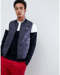 Fred Perry - X Lavenham Quilted Vest In Navy - Lyst
