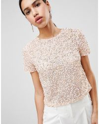 b11eed1087339c Lyst - ASOS Trophy T-shirt With Teardrop Embellishment in Pink