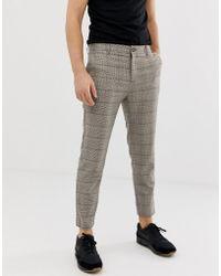 Bershka - Skinny Check Trousers In Brown - Lyst