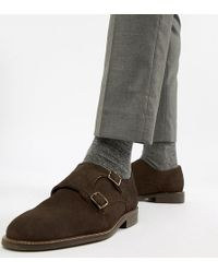 Dune - Wide Fit Monk Shoes In Brown Suede - Lyst