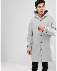 Mango - Man Hooded Wool Coat In Grey - Lyst