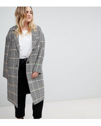 ASOS - Asos Design Curve Slim Coat In Coloured Check - Lyst