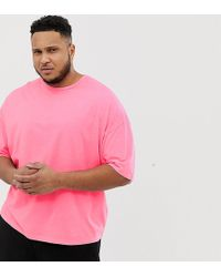 1ba74258e214 ASOS - Plus Oversized T-shirt With Half Sleeve In Washed Neon Pink - Lyst
