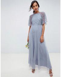 ASOS - Delicate Embellished Angel Sleeve Maxi Dress - Lyst