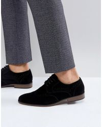 River Island - Lace Up Faux Suede Shoes In Black - Lyst