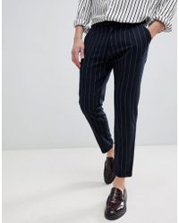 Pull&Bear - Striped Tailored Trousers In Navy - Lyst
