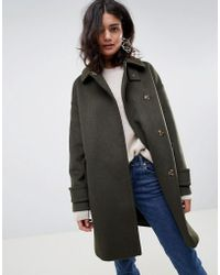 ASOS - Coat In Twill With Buckle Neck - Lyst