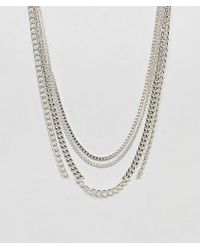 ASOS - Short Layered Neckchain Pack In Silver Tone - Lyst