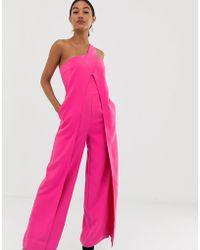 Lavish Alice - Tuta jumpsuit monospalla a portafoglio rosa con fondo ampio - Lyst