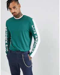 ASOS - Longline Long Sleeve T-shirt With Colour Block Text Print Panels And Tipped Rib - Lyst