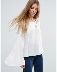 First & I - Fluted Sleeve Boho Blouse - Lyst