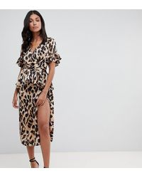 John Zack - Wrap Front Midi Skirt Coord In Leopard Print - Lyst
