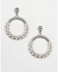 Missguided - Studded Thread Wrap Detail Circle Earrings - Lyst