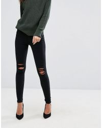 0e6c916af79e Dr. Denim - Lexy Mid Rise Second Skin Super Skinny Ripped Knee Jeans - Lyst