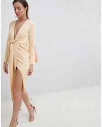 ASOS - Kimono Button Plunge Midi Dress - Lyst