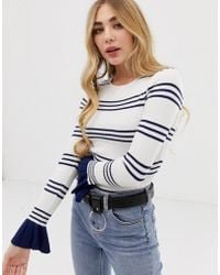 Missguided - Body In Blue And White Stripe With Frill Cuff - Lyst 7d955a3ef