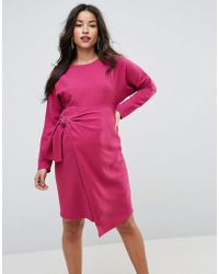 e85e8b6c3bf12 ASOS Batwing V-neck Plisse Midi Dress in Pink - Lyst