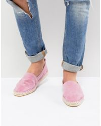 ASOS - Design Espadrilles In Pink Faux Suede With Back Pull - Lyst