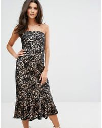 Warehouse - Strapless Premium Lace Dress - Lyst