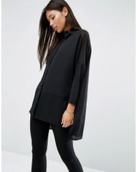 ASOS - Oversized Blouse With Sheer Inserts - Lyst