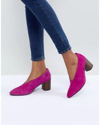 Vagabond - Eve Purple High Vamp Wooden Heeled Shoes - Lyst