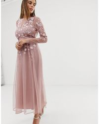 ASOS - Long Sleeve Embroidered Midi Dress - Lyst