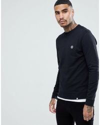 Pretty Green - Clements Crew Neck Sweatshirt In Black - Lyst
