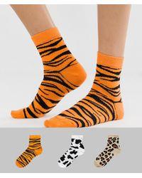 ASOS - 3 Pack Animal Ankle Socks - Lyst