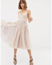 Needle & Thread - Tulle Cami Skater Dress In Rose - Lyst