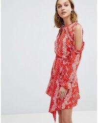 River Island - Ruffle Cold Shoulder Detail Floral Print Dress - Lyst