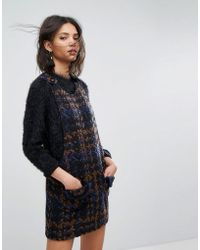 Anna Sui - Pinafore Dress In Chunky Tweed - Lyst