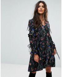 Vero Moda - Tie Sleeve Embroidered Dress - Lyst