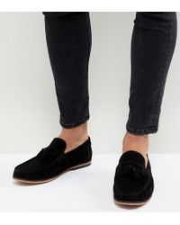 eb9d3ea94bc ASOS - Wide Fit Tassel Loafers In Black Suede With Natural Sole - Lyst