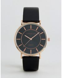 Christin Lars - Watch With Rose Gold Case And Black Strap - Lyst