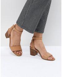 ALDO - Tan Block Heeled Sandals - Lyst