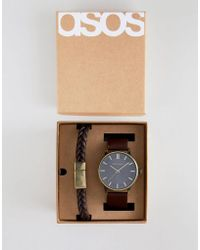 ASOS - Watch And Bracelet Set In Brown With Burnished Gold Highlights - Lyst