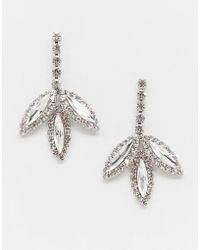 True Decadence - Crystal Drop Leaf Earrings - Lyst