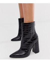 London Rebel Wide Fit Pointed Block Heeled Boot In Black