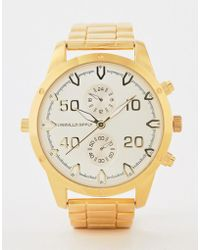 ASOS - Gold Tone Bracelet Watch With Subdials - Lyst
