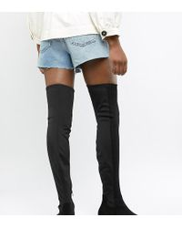 ASOS - Asos Design Wide Fit Tall Kelby Flat Elastic Over The Knee Boots - Lyst