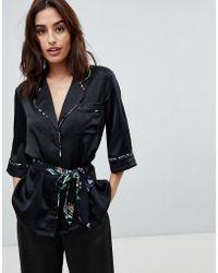 StyleStalker - Avalon Rever Collar Shirt With Floral Print Belt - Lyst