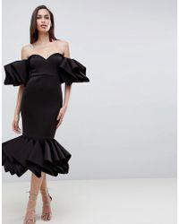 ASOS - Asos Premium Concertina Hem Bodycon Dress - Lyst