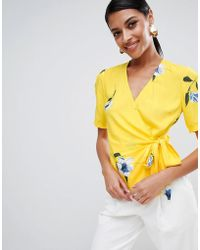 Warehouse - Floral Print Wrap Top In Yellow - Lyst